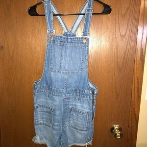 Madewell overall jean shorts